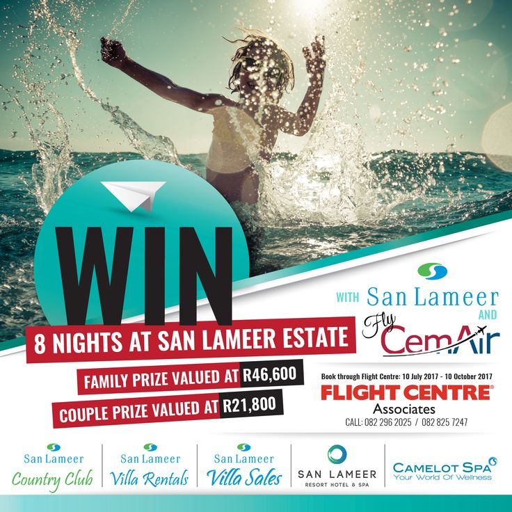 **WIN with San Lameer Estate & CemAir (Pty) Ltd.!** Receive an entry when you book flights Esnel Smit Flight Centre Associates or Flight Centre Associates - Tiffany Beck from Cape Town to Margate (via Plettenberg Bay) on Flycemair or receive an entry for each night spent at San Lameer Villa Rentals or the San Lameer Resort Hotel & Spa. For more info and T's & C's click here: https://goo.gl/ouEQaF