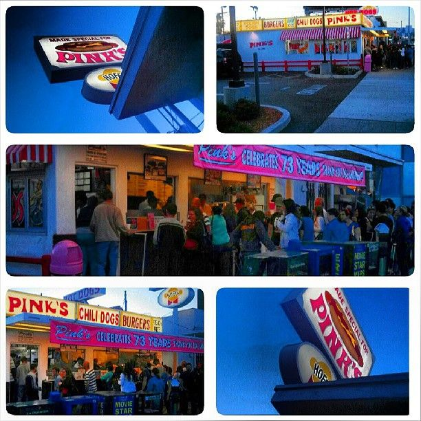 The oldest #HotDogStand  in #LA  #PinksHotDogStand…Get the Spicy Polish Dog with Chilli and Cheese & #fries but it's Spicy y'all  so be prepared to wash it down with somthing cold…and never mind the calories…and yes the line is always long! #PinksHotDogs #Pinks #Socialbilitty (at Pink's Hot Dogs)