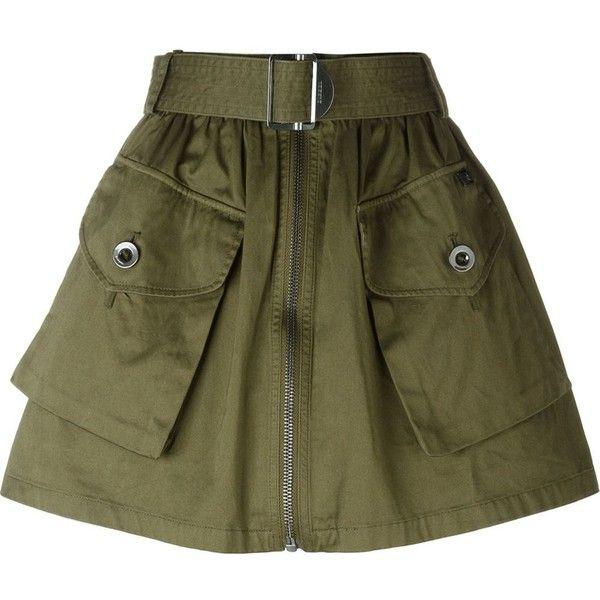 Diesel O-Boden Skirt ($131) ❤ liked on Polyvore featuring skirts, green, green skirt, green cotton skirt, cotton skirt and diesel skirts