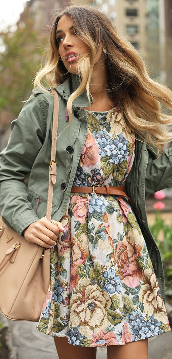 Spring Military Vintage Tapestry Floral Dress by Glamgerous