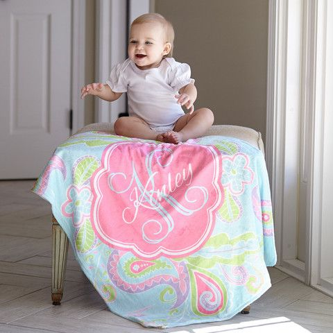 Baby Girls Aqua Paisley Name Blanket – Lolly Wolly Doodle