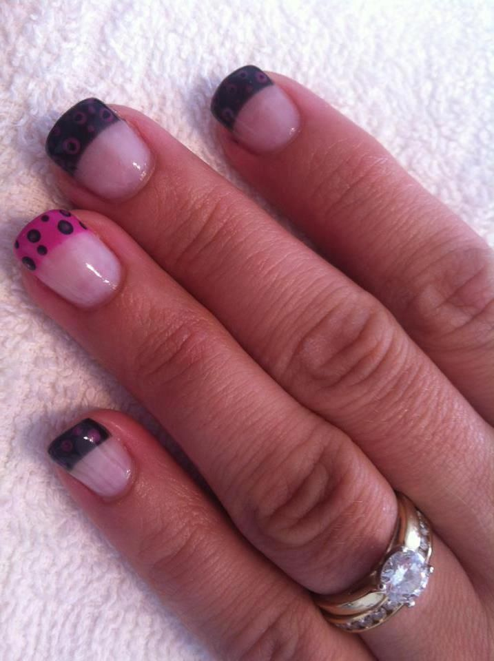 Black & pink french nails with layered dots #sittingpretty