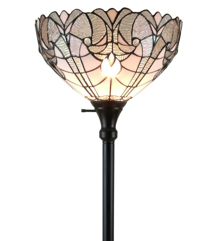 White Tiffany-style Torchiere Floor Lamp 72 Inches Tall