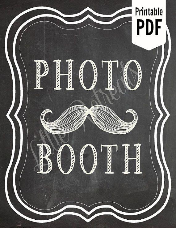 DIY. PRINTABLE Chalkboard PDF. Photo Booth Sign. Photo Booth Prop. Photobooth Prop. Photo Booth.Chalkboard Sign, Wedding Reception. Chalk