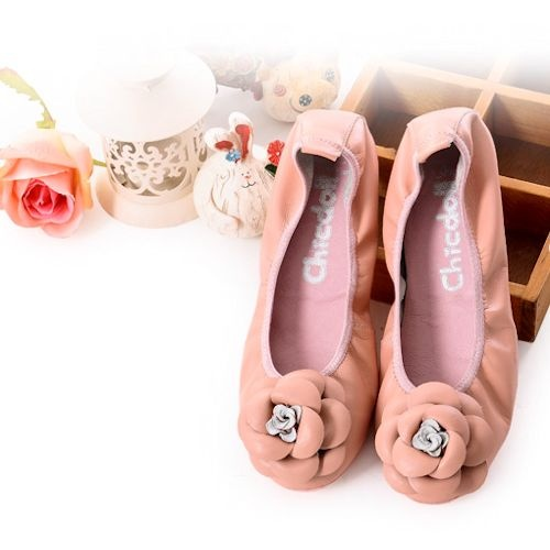 Handmade pink leather rosette wedding bridesmaid prom ballet flats