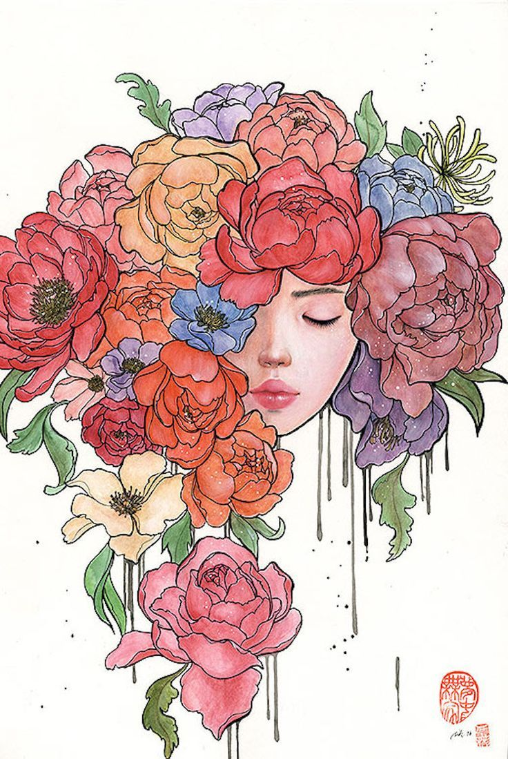 Flower art Surrealism Colored pencil. Bloomed Original art