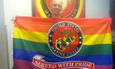 Gay marine bids farewell with show of support from colleagues