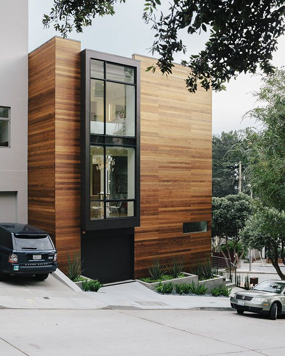 Beautiful combination of wood and glass exterior