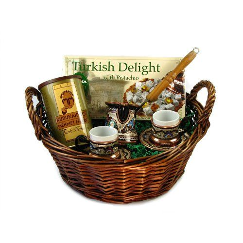 Turkish Coffee World Turkish Coffee Gift Basket with A Set for Two - http://mygourmetgifts.com/turkish-coffee-world-turkish-coffee-gift-basket-with-a-set-for-two/