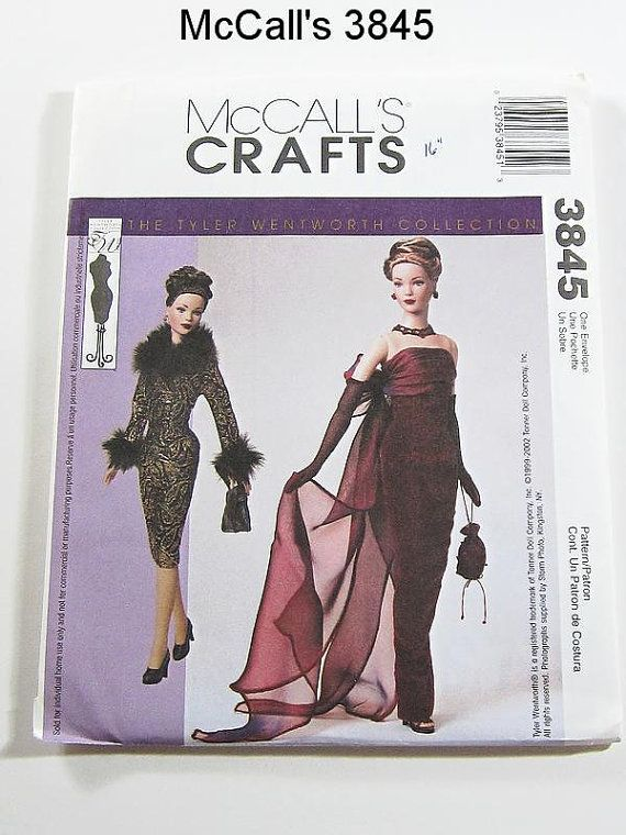Doll Clothes Pattern - McCalls 3845 - Evening Gown or Short Dress,  Jacket, Bags and Gloves - Tyler Wentworth - for 16 Inch Tonner Dolls: