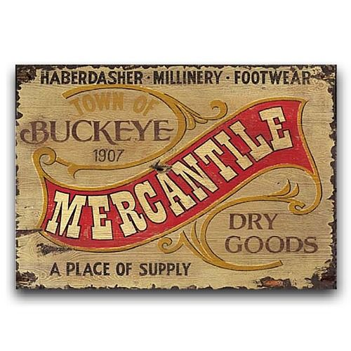 Vintage Wood Sign Western Decor Mercantile Sign 26x14