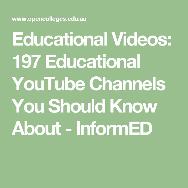 Educational Videos: 197 Educational YouTube Channels You Should Know About - InformED