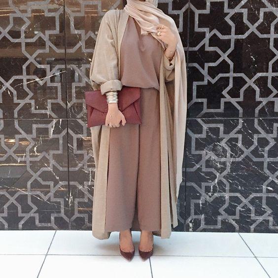 earthy tones Abaya hijab fashion