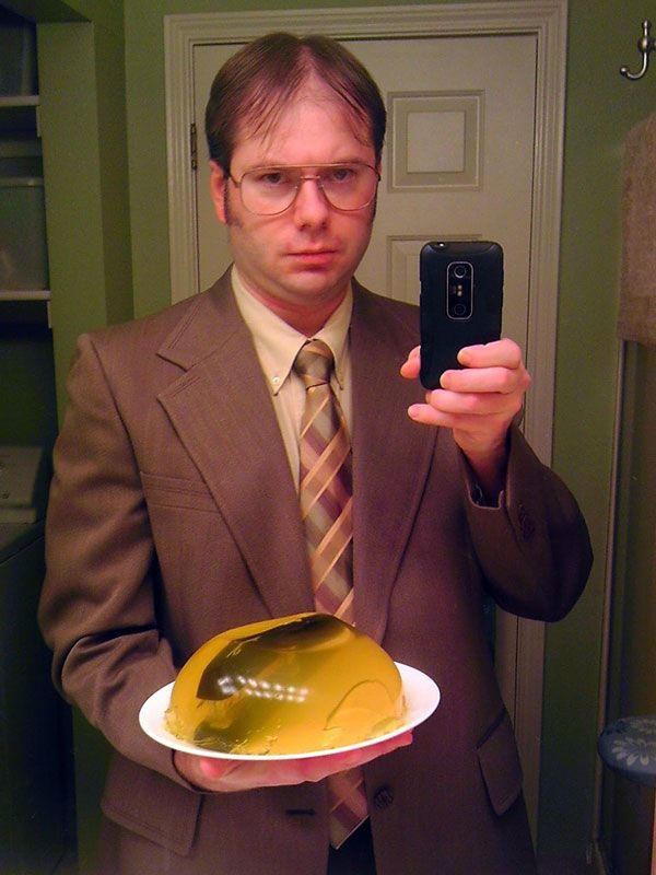 dwight schrute the office halloween costume... lol, the stapler in the jello definitely completes the look