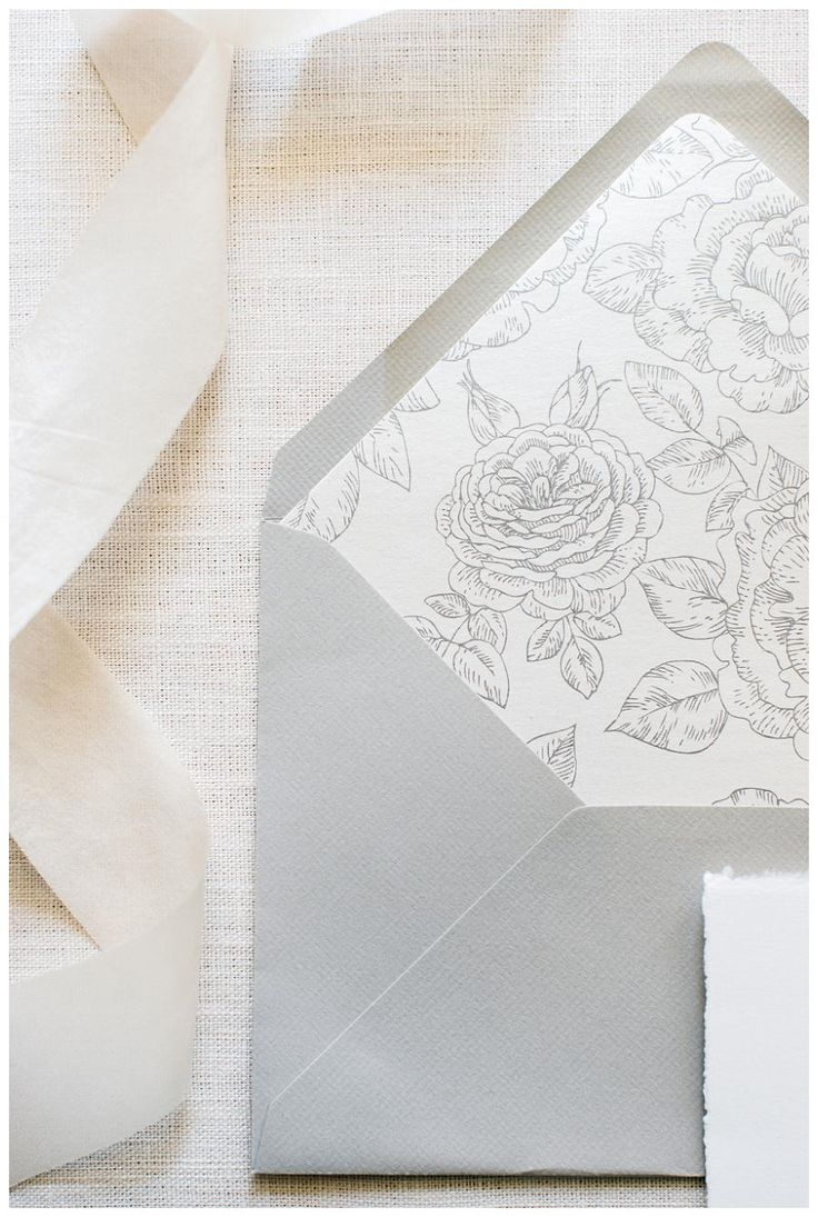 how to address wedding invitations inside envelope%0A Outer wedding invitation envelope in soft  dove gray with botanical floral  print lining from Written