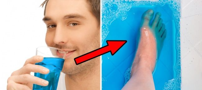 Жидкости для полоскания рта найдено много применений, в том числе в качестве средства для полоскания ног от грибка.  15способов использовать вещи так, как никто этого раньше неделал