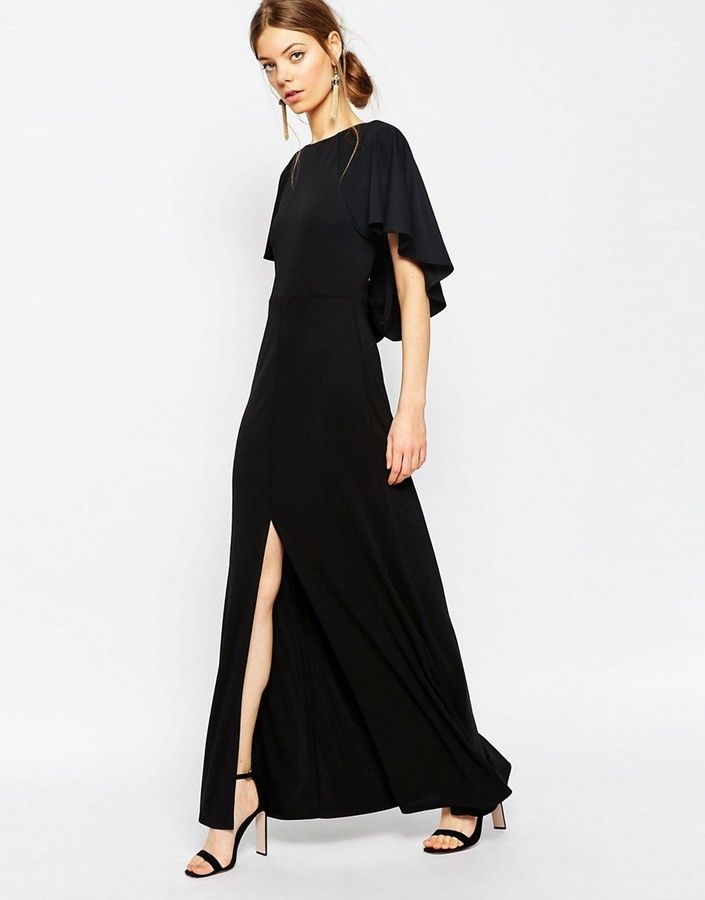 48250aa1bdc441 ASOS COLLECTION ASOS Crepe Maxi Dress With Soft Cape Back Detail | Room for  more... | Maxi dress wedding, Cape dress, dan Dresses