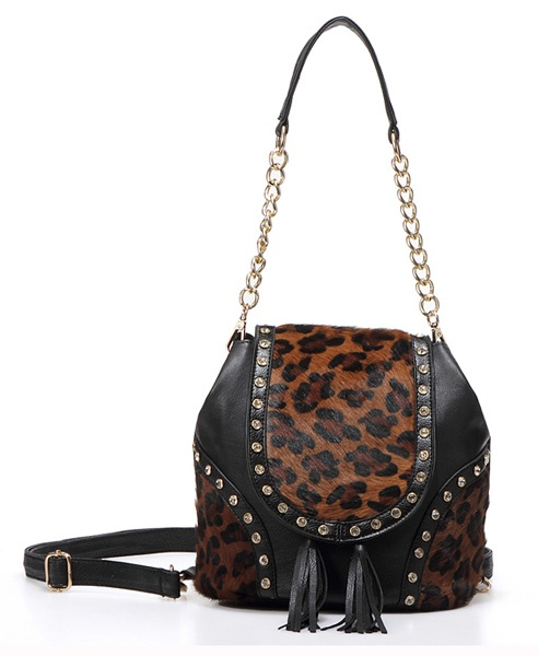 Leather Drawstring Diamanted Bucket Bag with Pony Hair Panel