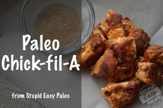 Paleo Chick-fil-A from.  stupideasypaleo.com I didn't find you needed to do everything in a plastic bag; a bowl worked fine.   We also marinated in bread and butter pickle juice and it was scrumptious!  Ilan ate like 8 of these.