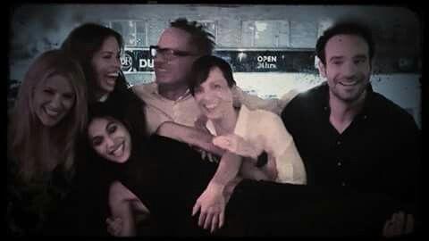 Charlie Cox , Elodie Yung,  Charlie Cox's girlfriend Samantha Thomas and the Daredevil Season 2 crew at Netflix party