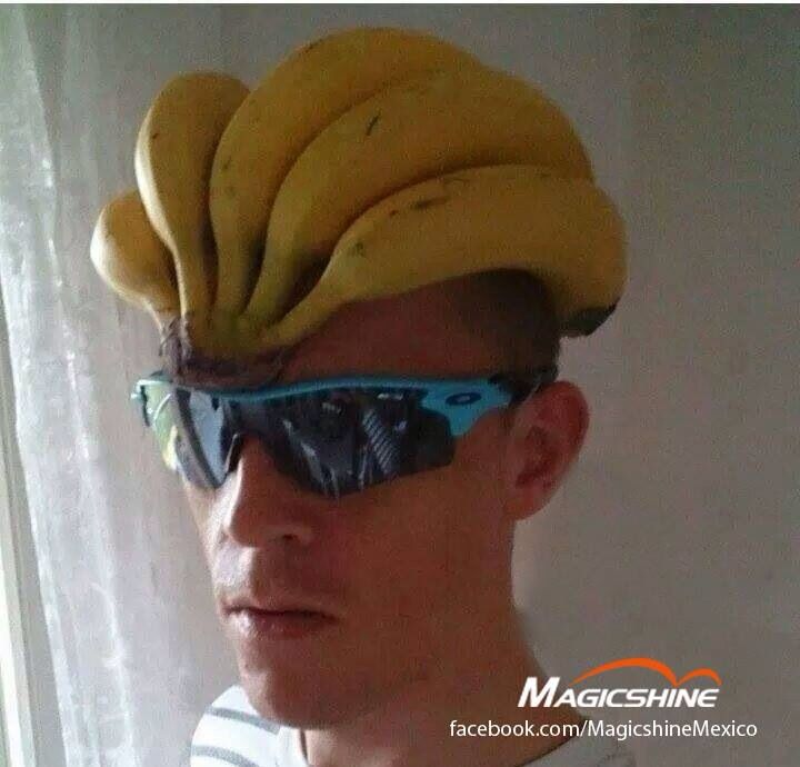 Banana Helmet: Functional, Fashionable & Nutritional.Join the fastest growing social network for cyclists - THECYCLINGBUG.CO.UK #thecyclingbug #cycling #bike