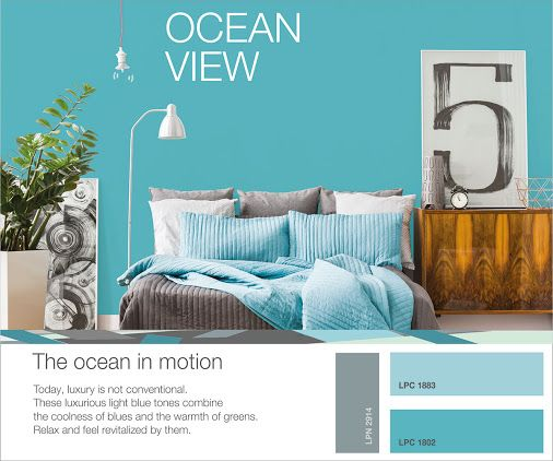 Give your living space the aura of the ocean with the unique color combination OCEAN VIEW by ISOMAT! The coolness of blue and the warmth of green come together in a series of unique light blue tones that give your space a luxurious and refreshing look. Relax and feel revitalized by them! For more creative ideas, useful tips and suggestions for trendy color combinations, visit the ISOMAT COLOR SYSTEM website. http://isomatcolorsystem.eu/