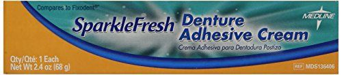 Medline MDS136406 SparkleFresh Latex Free Denture Adhesive Cream, 2.4-Ounce (Pack of 12)