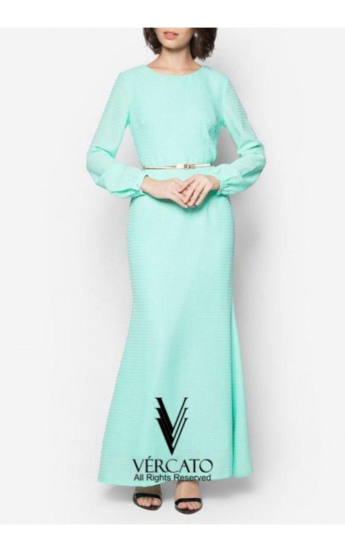 Stunningly minimal and chic, this gorgeous jubah by VERCATO features a beautiful textured finish and a sleek gold tone metal belt. Embody demure femininity as you grace your social occasions with this number. SHOP here: www.vercato.com