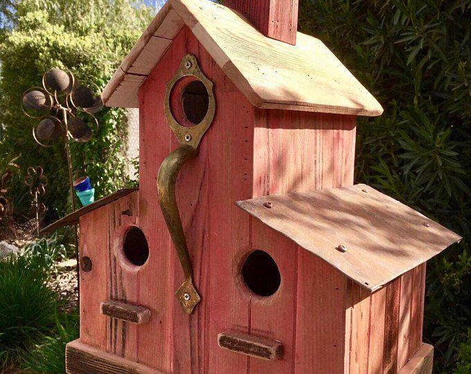 Handmade Large Red Oak Cabin Birdhouse Bird House Plans Bird Houses Decorative Bird Houses