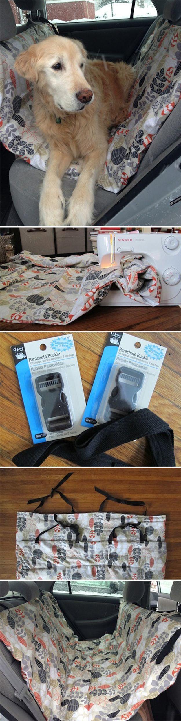 Easy DIY Hammock for Dogs | DIY Car Hammock by DIY Ready at http://diyready.com/diy-dog-crafts-mans-best-friend-will-love/