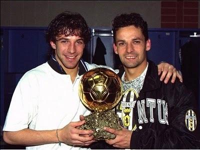 Del Piero with Roberto Baggio