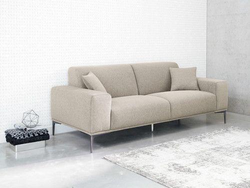 Sofá de 2/3 plazas de tela gris claro mezclilla