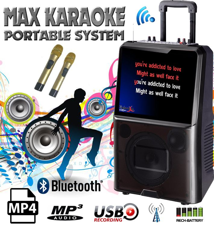 "Portable Karaoke System with 15"" LCD and 2 UHF Wireless Microphones, fully featured system which can play Karaoke MP4 songs."