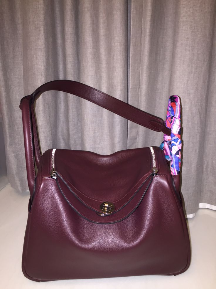 Hermes Lindy 30 Prune Evercolor Leather