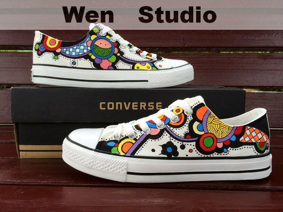 I Love Design Floral Converse Custom Floral Shoes Hand Painted Shoes Painted Custom Converse Canvas Shoes Unique Birthday Gifts on Etsy, $71.00