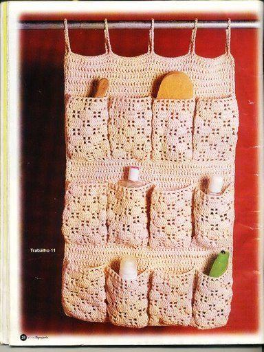 Patrones asgaya organizador para el ba o hogar crochet for Accesorios para cortinas de bano