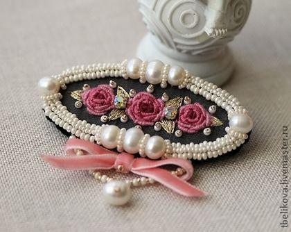 Брошь Рококо B2013-19 - брошь с розочками,розовый,кремовый,брошь с вышивкой