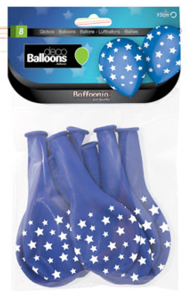 DisfracesMimo, bolsa de 8 globos con estrellas 80 cm azules con estrellas blancas. Comprar globos baratos. Ideal para decoraciones de festivales en grupos, colegios o cumpleaños.