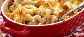 Mac & Cheese - macaroni met ham kaas (zakje!!) kaassaus, kaas uit de oven