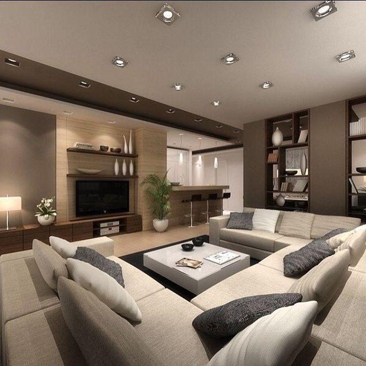 Dieses Moderne Haus Verfugt Uber Eine Versunkene Lounge Und Einen Unterhaltungsbereich Mit Garte Living Room Decor Modern Classy Living Room Luxury Living Room