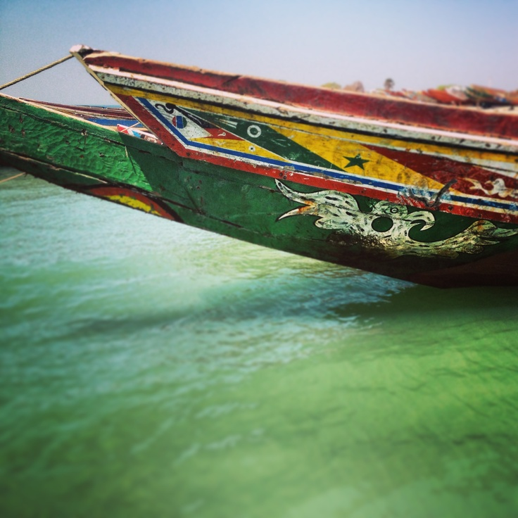 Colourful Fishing boats in the Gambia, Africa