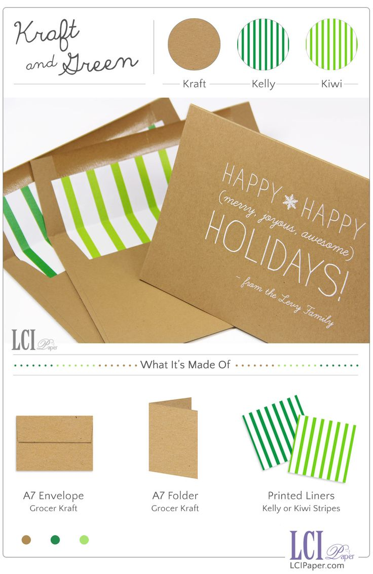 Colored card stock and envelopes - Whether Kiwi Mint Or Kelly You Can T Go Wrong With The Kraft Green Holiday Color Combo See How We Made This Simple And Modern Kraft Holiday Card