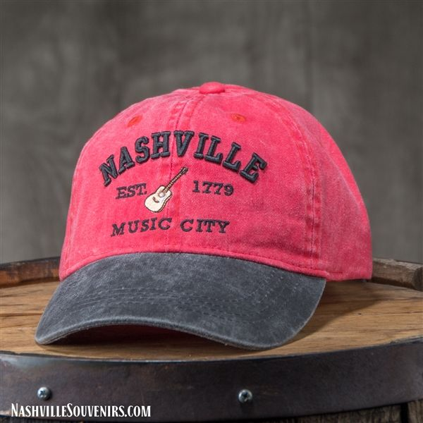 Nashville Est 1779 Music City Hat In Red With Charcoal Bill Music City Nashville Nashville Gifts Nashville