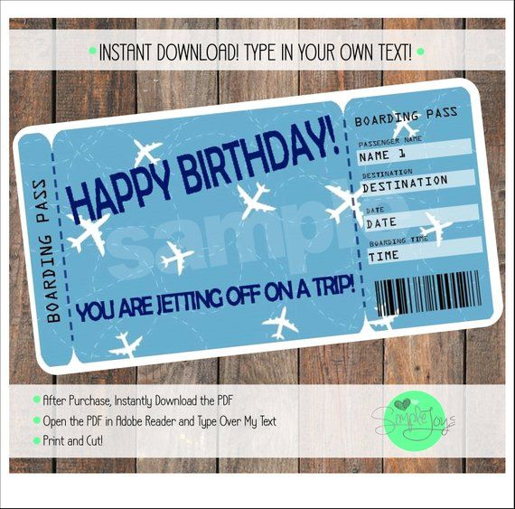 Printable Birthday Surprise Vacation Trip Boarding Pass ...