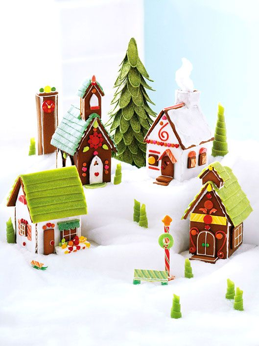 Patterns for Cardboard Villages | Click to view larger image of gingerbread village