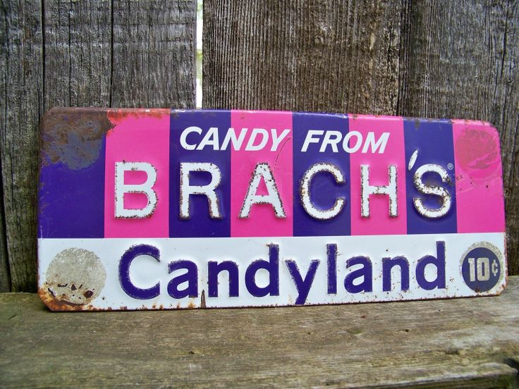 Old Vintage Tin Brachs Candy Advertising Sign Rustic