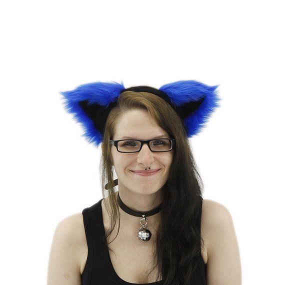 Pawstar harige Kitty Kat oren kostuum Ryal blauwe kleurenthema PLUIZIG MEW oor HOOFDBAND 3051