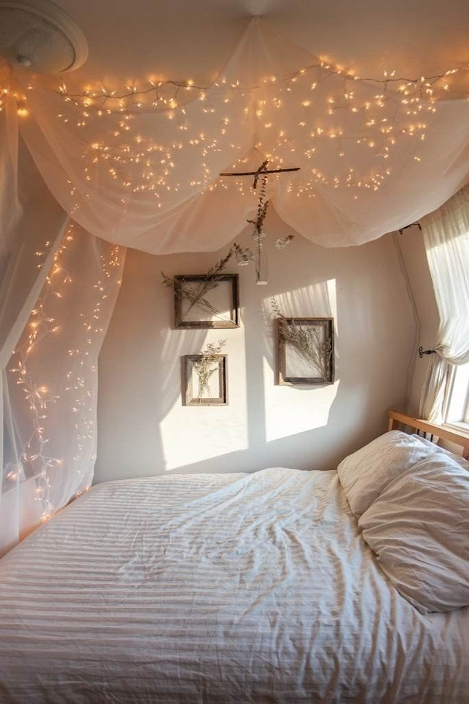 9 Cute Ways To Decorate Your Bedroom With String Lights Inspiration Decor Home Dream