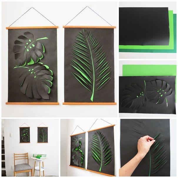 paper leaf wall art decoration F Wonderful DIY Paper Leaf Wall Art Decoration