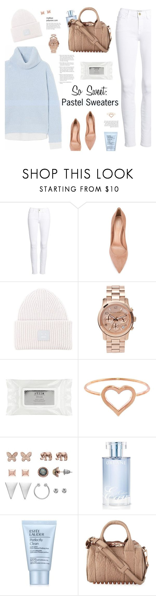 """So Sweet: Pastel Sweaters"" by mylkbar ❤ liked on Polyvore featuring Frame, Gianvito Rossi, Acne Studios, Michael Kors, Stila, Jennifer Meyer Jewelry, Mudd, Orlane, Estée Lauder and Alexander Wang"